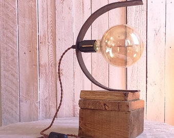 Light wood and metal with old forged nail - Upcycled, steampunk, industrial, vintage-made-hand-Jean pumpkin - free shipping