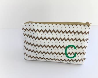 Chevron make up bag - Gold cosmetic bag - Travel storage bag - set cosmetic bag - Bridal gift ideas - Zipper bag - Gold pouch