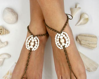 Hemp & Genuine Stones Beaded Barefoot Sandals ~ Toe Thong Foot Harness Soleless Sandals Yoga Jewelry ~ Bridal Jewelry Barefoot Bride