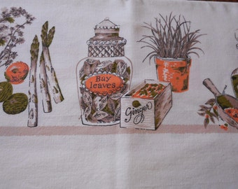 Vintage Brown and Orange Tablecloth