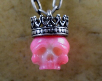 Carved Pink Coral Skull Wearing Sterling Silver Crown - Skull Jewelry - Skull Necklace - Carved Coral Pendant - Unique Gift - Halloween