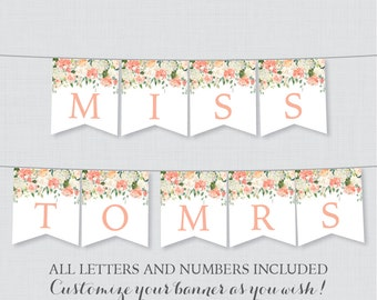 Printable Banner with ALL Letters and Numbers - Peach Floral Bridal Shower Decoration - Peach and Cream Garden Bridal Shower Banner 0028