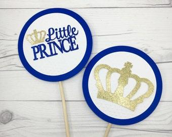 Little Prince Centerpiece, Royal Centerpiece, Baby Shower Centerpiece, Royal Blue and Gold First Birthday, Crown Centerpiece