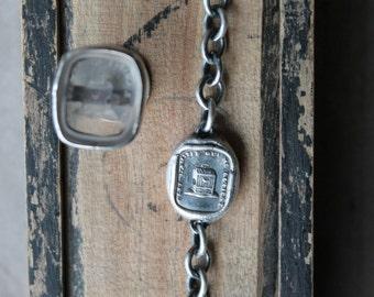 Bird in cage wax seal fine silver - sterling silver bracelet