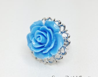 Blue Rose Ring Blue Bridesmaid Gift Bridal Party Gift Blue Wedding Ring Resin Rose Ring Pretty Blue Rose Jewellery Mother of the Bride Gift