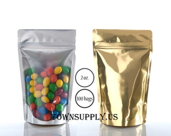 100 - 2 oz clear stand up pouches with gold foil lined back, storage bags, food grade packaging, resealable ziplock package, DIY favor bags