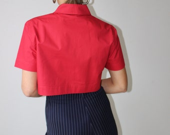 Micro / CARVEN shirt / red / Crop top / Peter Pan collar / Vintage / Blouse short