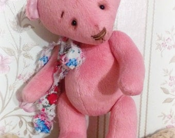 Big sale! Teddy Bear Pink Gift for her Gift Stuffed bear Toy Shabby chic style