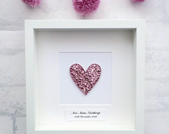 Personalised Heart, new baby girl gift, heart picture, nursery wall art, christening gift, girls room decor,pink heart, love