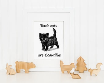 Black cat, Halloween decor, Kitten poster, Quote print, Cat lovers gift, Nursery decor, Cute animals