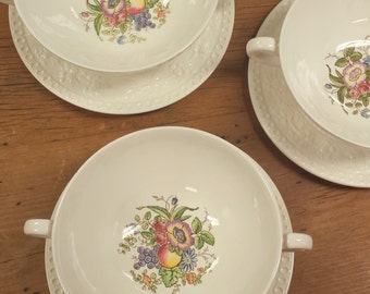 3 Footed Cream Soup Bowl & Saucer Set ~ Double Handle ~ Mayfair by Wedgwood, Wellesley Shape, Made in England