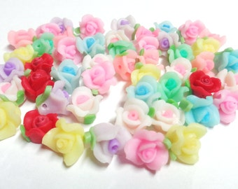 47 Small Polymer Clay Flowers 10mm Fimo Roses, 0.8mm Hole