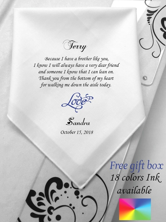 Special Wedding Gift For Brother : To Brother Of Bride -Personalized Wedding Handkerchief -Wedding Gift ...