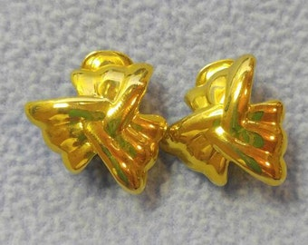 Beautiful Bright Gold Clip Earrings