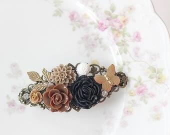 Barrette - Flower Barrette - Black Flower Barrette - Bridal Hair Clip - Graduation Hair Clip - Floral Hair Clip - Bridesmaid Hair Clip