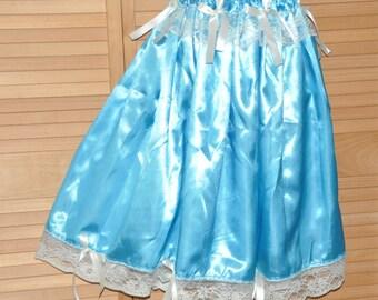 Silky satin flowing petticoat , lacy feminine hem, lovely lingerie for crossdressing fun, Sissy Lingerie