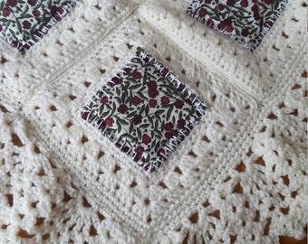 Handmade knitted single bedspread blanket/throw/afghan. New home.