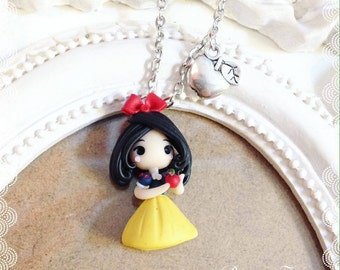 Disney snow white Fimo Polymer Clay necklace Kawaii Cute Chibi tiny Princess Princess Snow White Fairytale Apple Charms Handmade gift