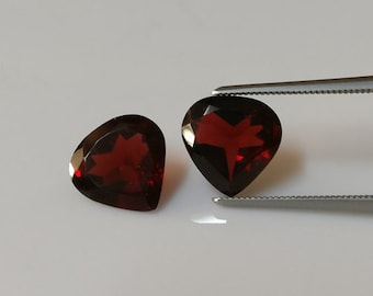 9mm hearts,red garnet pair ,tcw-4.7ct