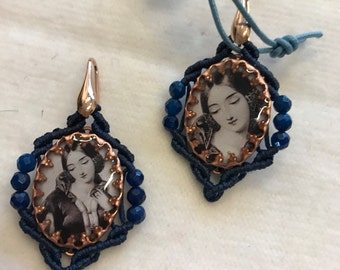 Lucia Pendant Earrings Macramé and Central Cameo, Italy jewelry, Bijoux hand made