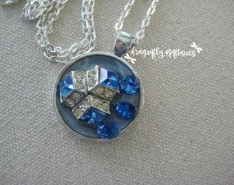 repurposed vintage collage pendant repurposed jewelry pieces vintage rhinestones blue clear artisan upcycled recycled reclaimed /N125