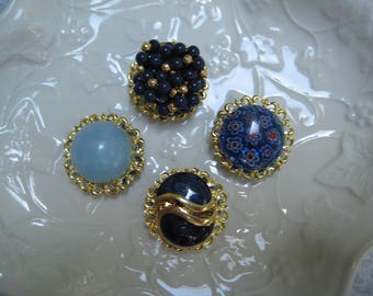 Vintage Magnet Set, Vintage Jewelry, Set of 4, Upcycled Vintage, Jewelry Magnets, Fridge Magnets, Costume Jewelry Magnets, Fridge Bling  /8