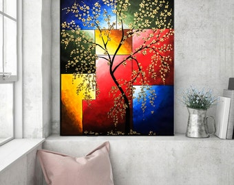 Abstract Landscape Cherry blossom painting, Contemporary Palette Knife Flower Painting, Acrylic Tree Texture Floral Wall art