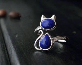 Cat ring, sterling silver cat ring, Lapis Cat Ring, Lapis Lazuli Ring, Gemstone Ring (R357)