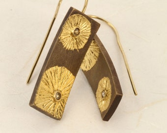 Bronze and Diamond earrings