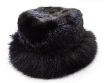 Black Classic Hat, Real Fox and Mink Fur Hat F516