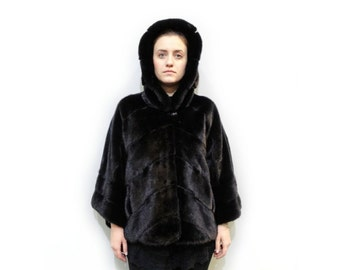 Plus Size Mink Cape,Hooded coat F478