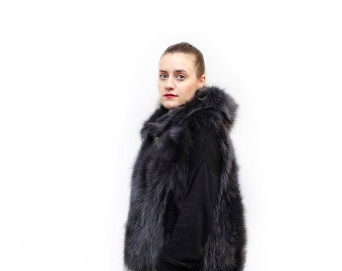 Plus size fox hooded fur vest,Black fur with gray shadows vest F538