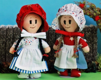 Cloth dolls in stars and stripes - Americas birthday celebration - 4th of July - picnics and fireworks - red white and blue - party USA