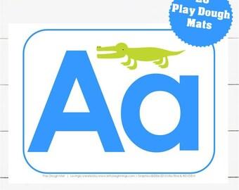 A-Z Play Dough Mats - Blue