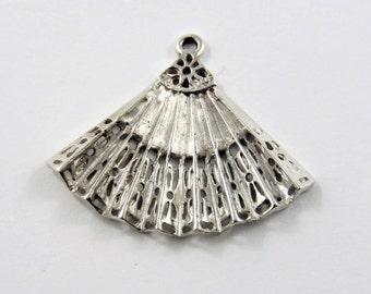Spanish Fan Sterling Silver Charm of Pendant.