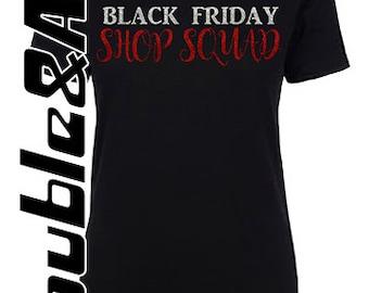 Black Friday Glitter Shirt, Black Friday Shop Squad, Black Red Silver, Custom Black Friday Crew T-shirts, Black Friday Sale, Shopping Team
