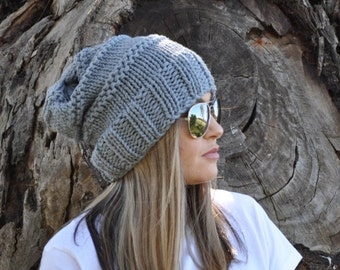 Grey Slouchy beanie. Grey slouch beanie, Slouch hat, wool hat, hand knit hat, Womans Beanie, Grey slouchy hat,slouchy beanie, gift for her
