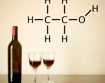 Alcohol Molecule Wall Sticker - Chemical Structure Self-Adhesive Wall Decal