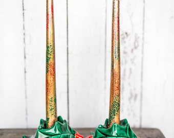 Vintage Christmas Holly Berry Candle Holders & Candles Set - Red Green Ceramic Holly Berries Christmas Candle Stick Holder with Candles Set
