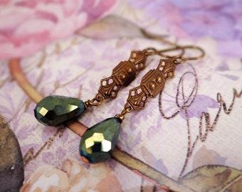 Art Deco earrings, Green & brass Art Deco earrings, Art Nouveau earrings, Raw brass Art Deco earrings, Elegant earrings, Romantic earrings