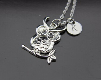 Silver Owl Charm Necklace Owl Pendant Owl Charm Silver Owl on Branch Charm Personalized Necklace Initial Charm Initial Necklace Customized