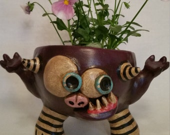 Purple  Monster Planter Pot