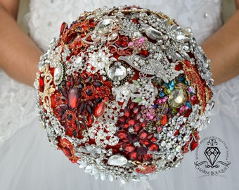 Red wedding bouquet, Red Bouquet, Bridal Bouquet, Gold brooch bouquet, Wedding bouquet, Brooch Bouquet, Bridesmaid Bouquet, Crystal Bouquet