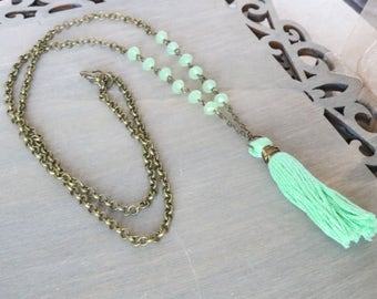 Lime Tassel Necklace - Long Necklace, Bronze Necklace, Faceted Glass, Green Necklace, Boho Necklace, Boho Chic, Bohemian Jewelry, Long Boho