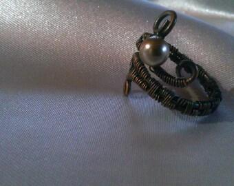 cooper ring, swarovski pearl ring , handmade ring , handmade jewelry