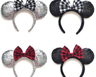 Minnie Mouse Inspired Ears Mickey Mouse Inspired Plaid Ears