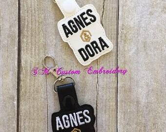 Agnes and Dora Embroidered Keyfob, Agnes and Dora Keychain, Agnes and Dora Gift, Advertise Agnes and Dora, Agnes and Dora Business