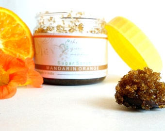 5.29 Oz Mandarin Orange Organic Sugar Scrub/ Body Polish - Mandarin, Lemon, Almond Oil, Apricot Oil - Vegan