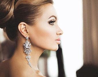 Wedding earrings  Вridal earring Swarovski Bridal jewelry Crystal Earrings Bridal Accessories Statement Earrings ChandelierCZ Earrings