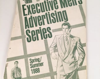 Vintage 80s Mens Fashion Illustration Book, Executive Men's Advertising Series, Spring/Summer. Vomtage Advertising, 44 p, 80s Menswear, 1988
